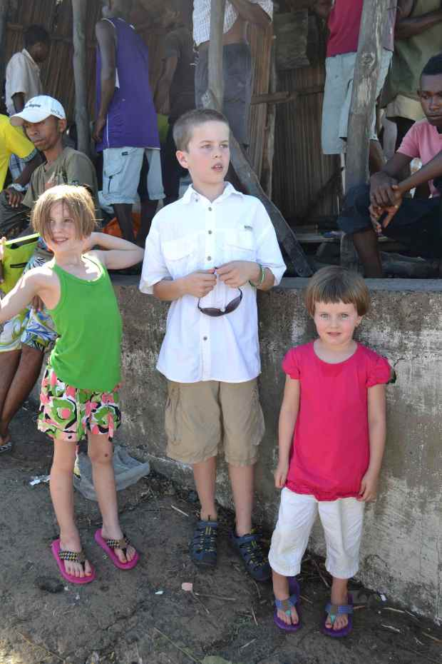Camden, Myla & Keely relaxing in the streets of Ambanja during our week of Language Traininig