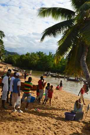 This is a photo of Ambatozavavy beach when the pirogues are bringing in the fish.