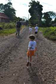 This photo is taken of us on the half mile walk from our hut to Ambatozavavy Bay where we pick up a taxi.
