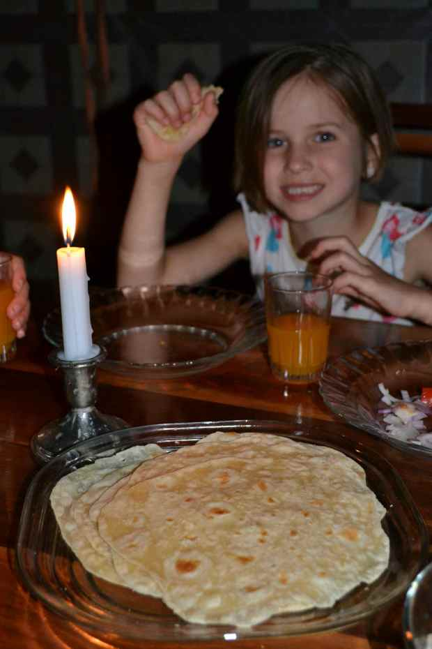 Simple pleasures...homemade tortillas and candlelight...
