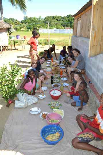 Some of the team enjoying a meal at our homestay family's house