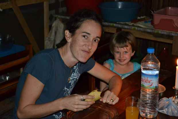 Rebe and Keely enjoying potato and egg tacos made with corn tortillas sent to us by our dear friends the Bells.