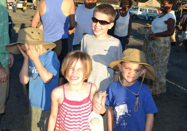 The sun was a bit bright that early morning...James, Myla, Camden and Eli.
