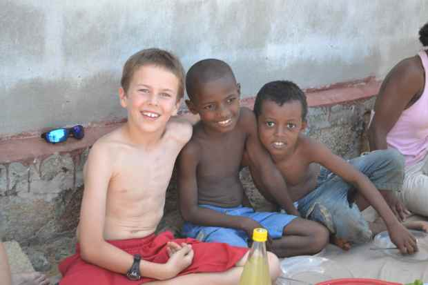 Camden with a couple of his buddies from the Ambatozavavy village.
