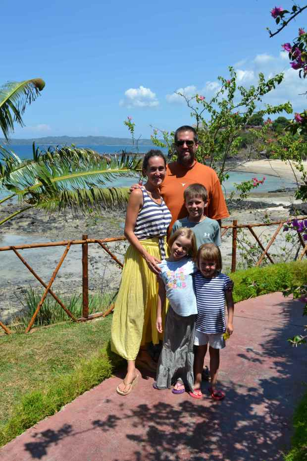 Family photo from the entrance to the resort restaurant