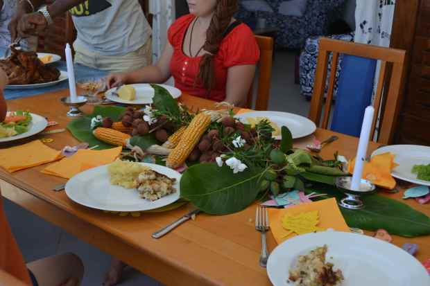 Rebe's Thanksgiving centerpeice included corn, local flowers and lychees!